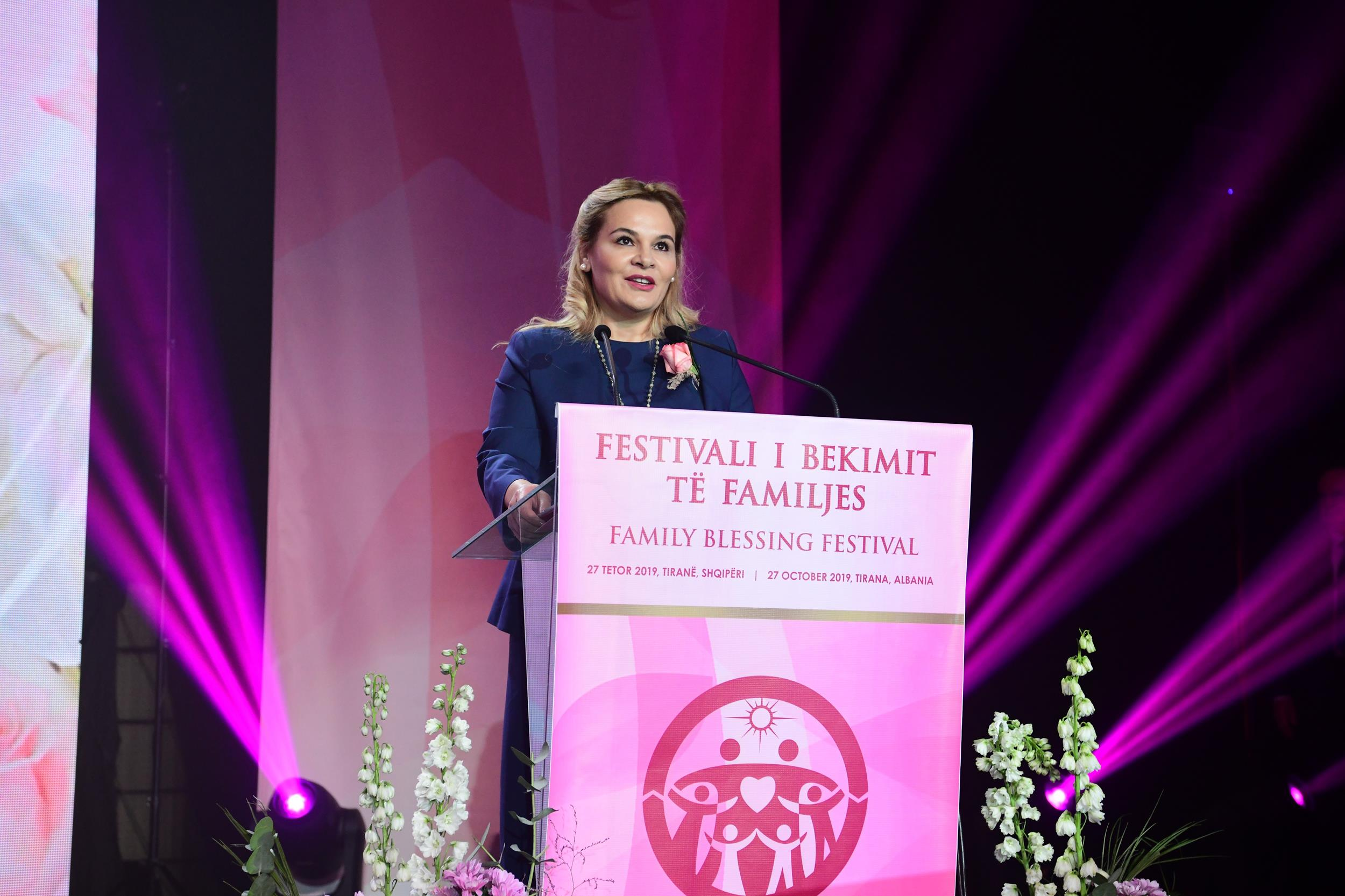Mrs. Monika Kryemadhi speaking at the Family Blessing Festival