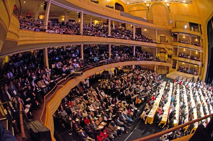 The Hammerstein Ballroom at the Manhattan Center was filled to overflow capacity